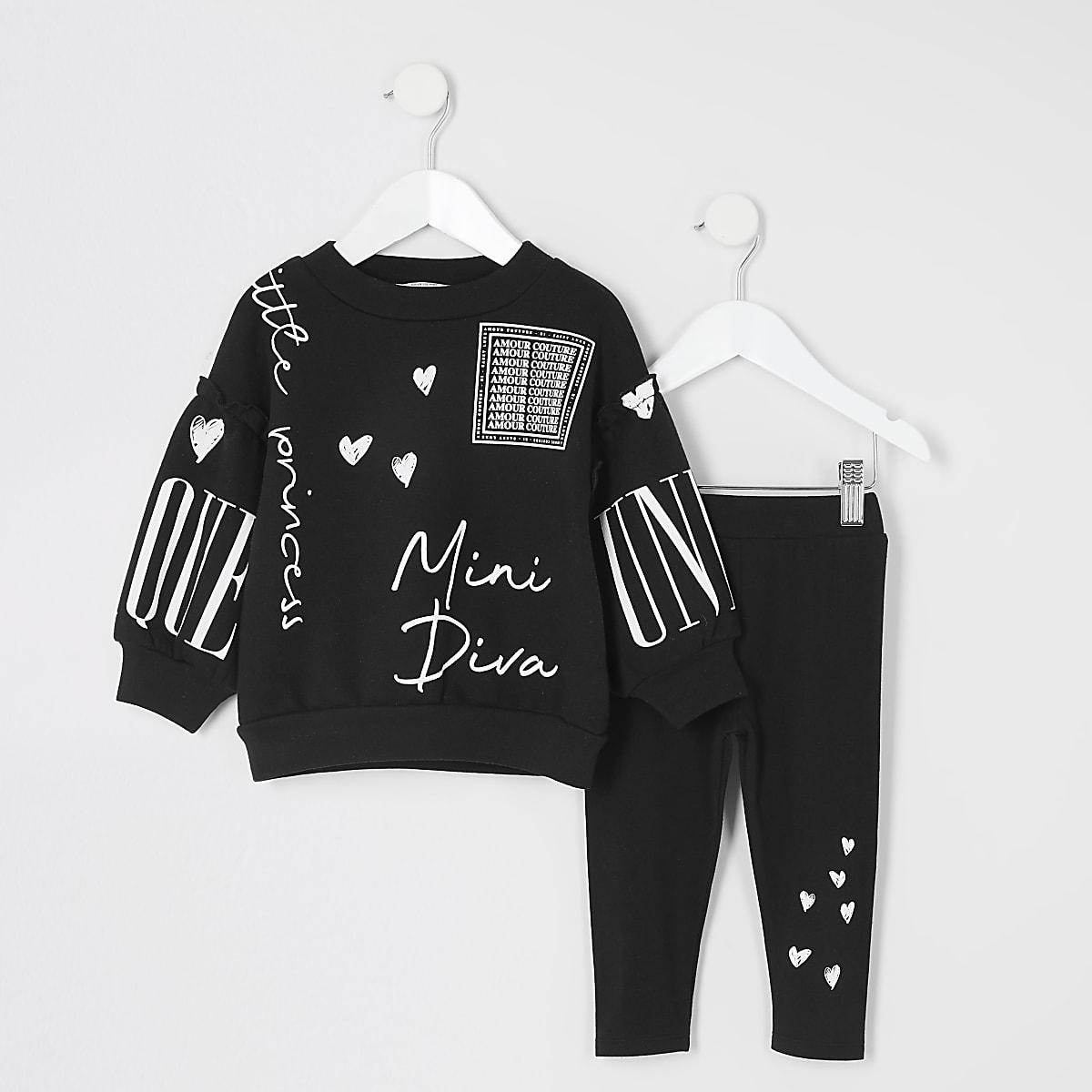 Mini girls mini diva black sweatshirt outfit