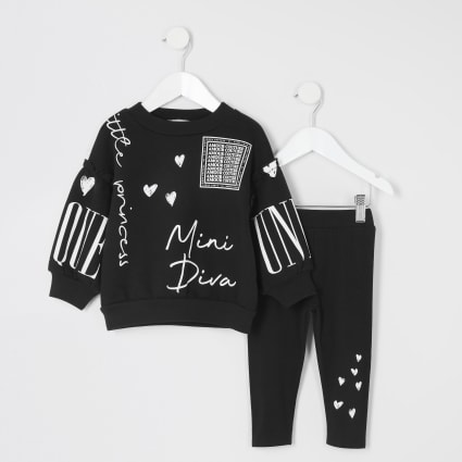Mini girls mini diva black sweatshirt outfit