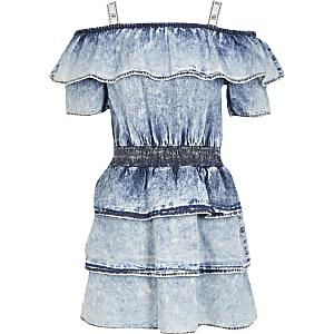 Blauwe acid wash rara jurk met bardot halslijn voor meisjes