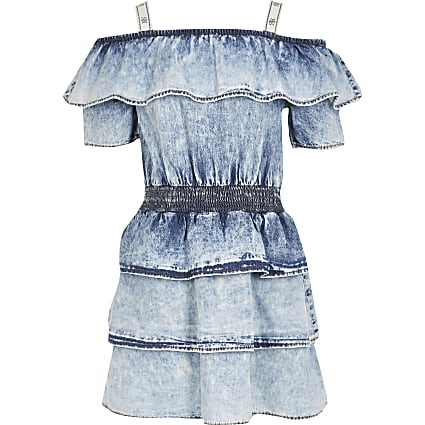 Girls blue acid wash bardot rara dress
