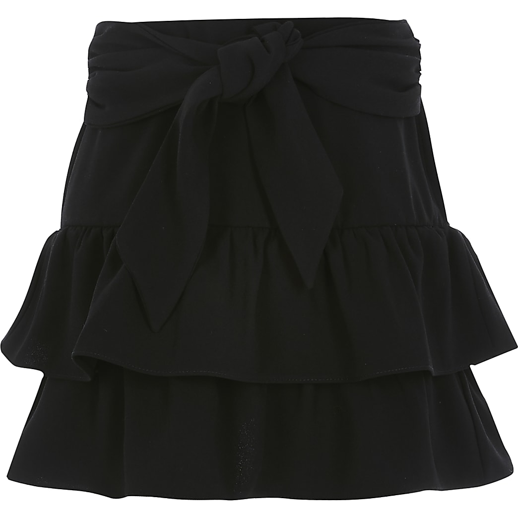 Girls black tie belted rara skirt