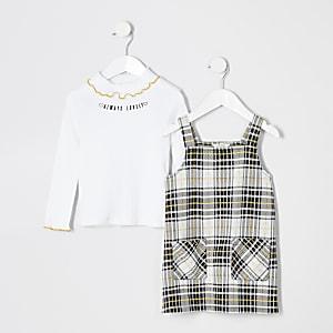 Mini – Gelb kariertes Trägerkleid im Set für Mädchen