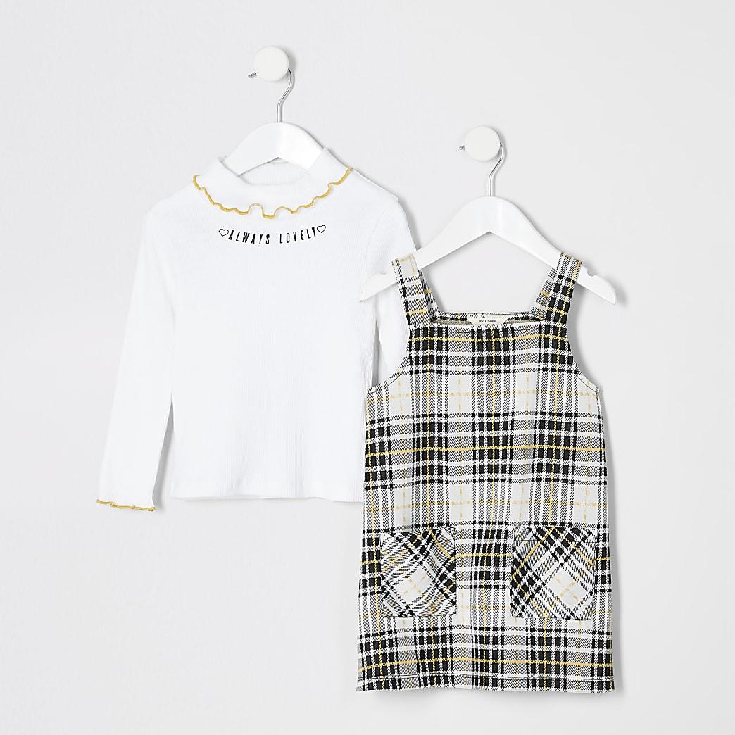 Mini - Gele geruite pinnafore-jurkset voor meisjes