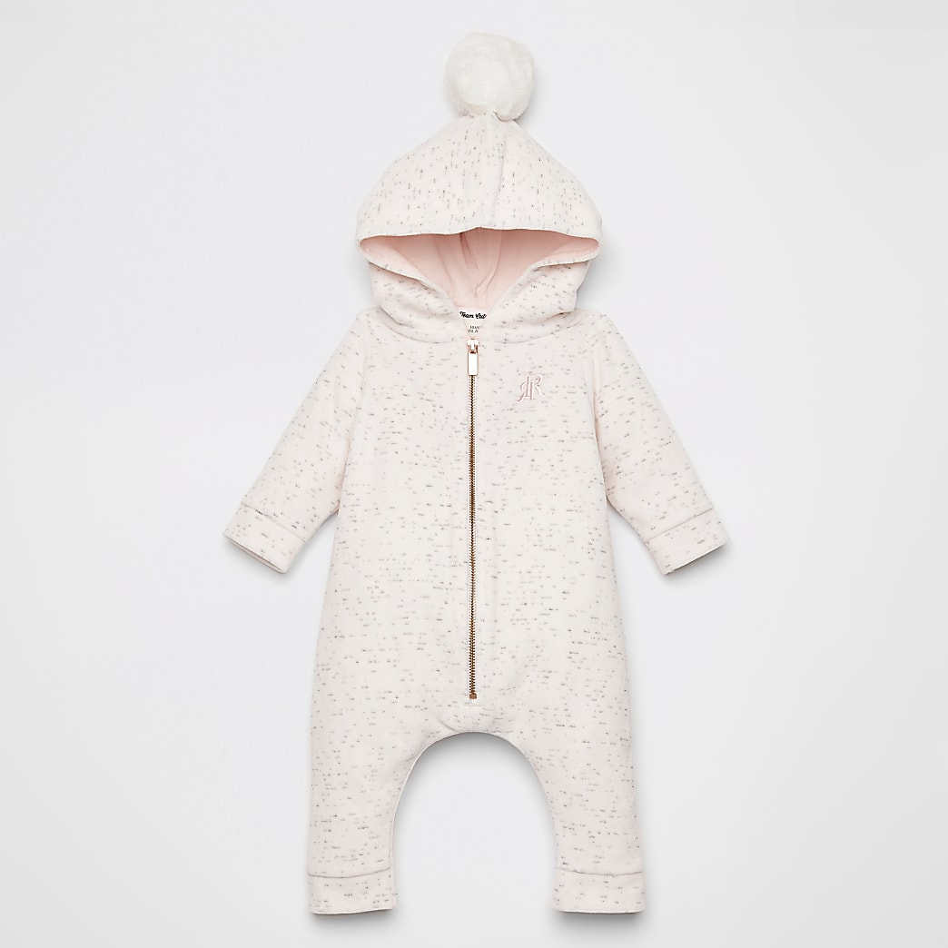 Baby pink velour faux fur pom pom all in one