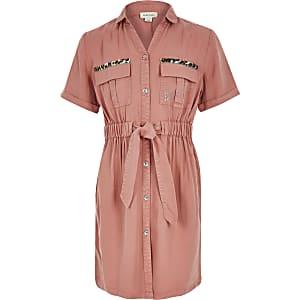 Roze utility overhemdjurk met strikceintuur voor meisjes
