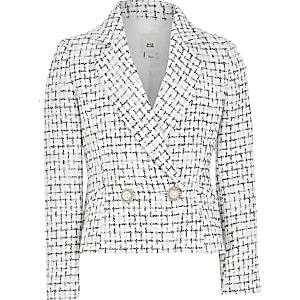 Zweireihiger Blazer mit Schnalle in Weiß für Mädchen
