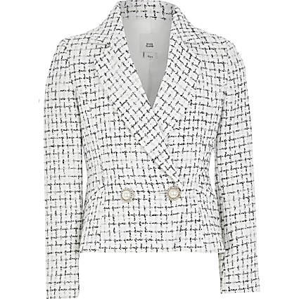 Girls white boucle double breasted blazer