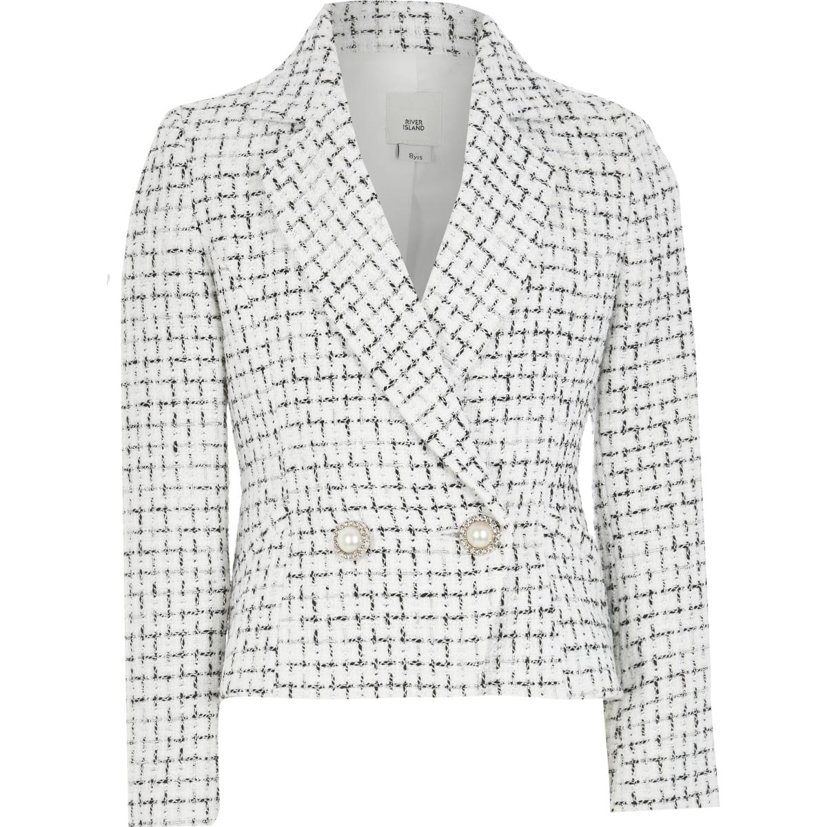 Witte double-breasted bouclé blazer voor meisjes