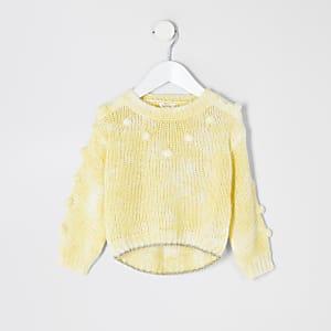 Mini – Gelber Strickpullover mit Pompons für Mädchen