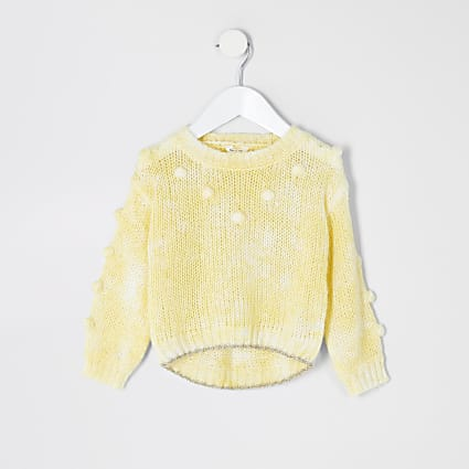 Mini girls yellow pom pom knitted jumper