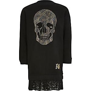 Zwarte trui-jurk met doodshoofdprint voor meisjes