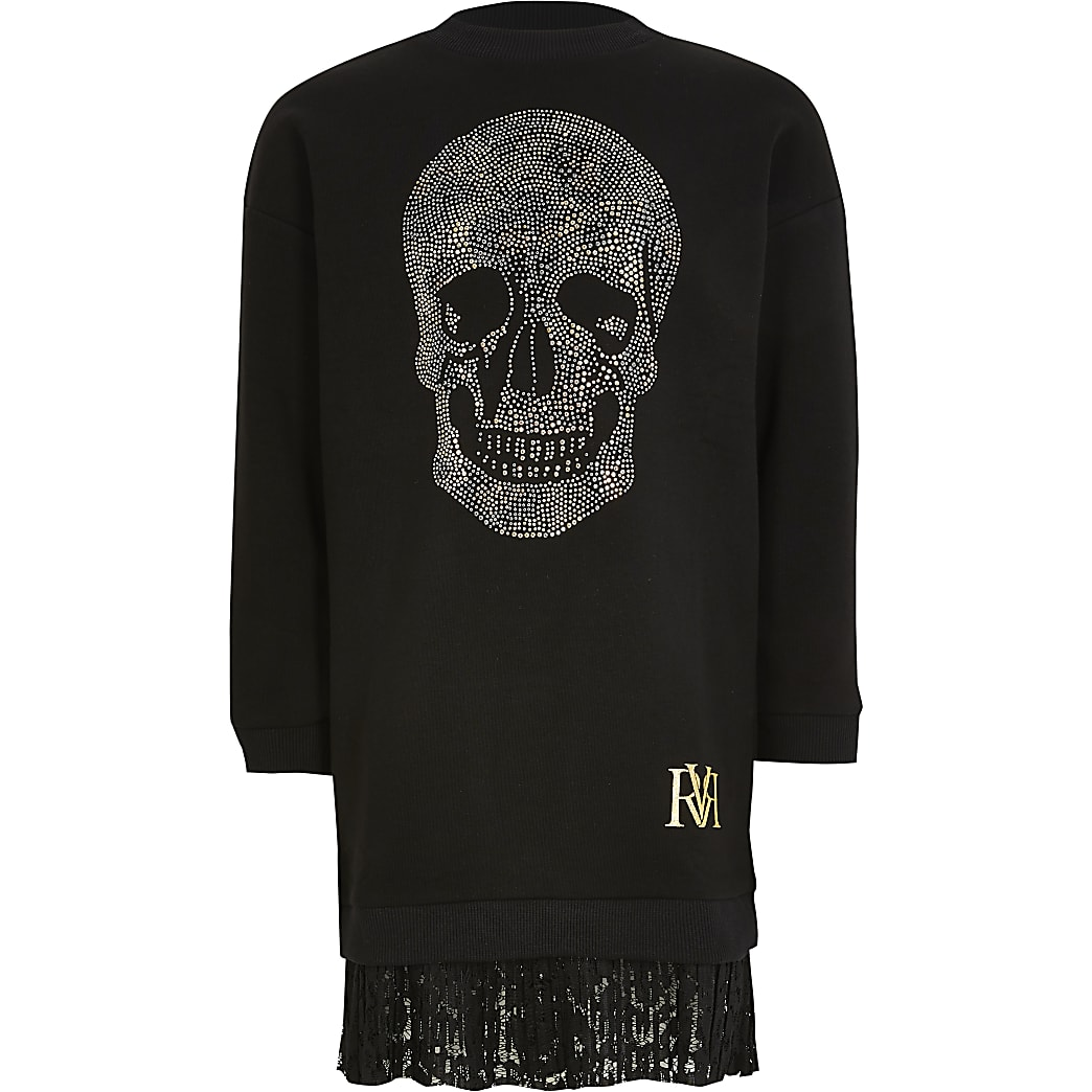 Girls black skull embellish sweatshirt dress