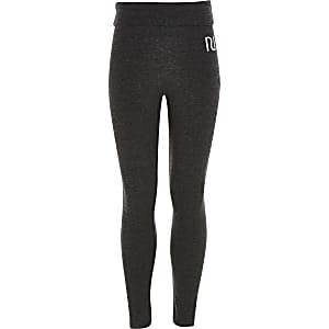 Grijze legging met omgeslagen taille en RI-tekst voor meisjes