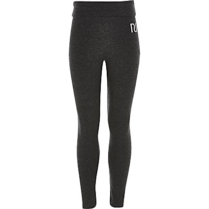 Girls grey fold over RI leggings