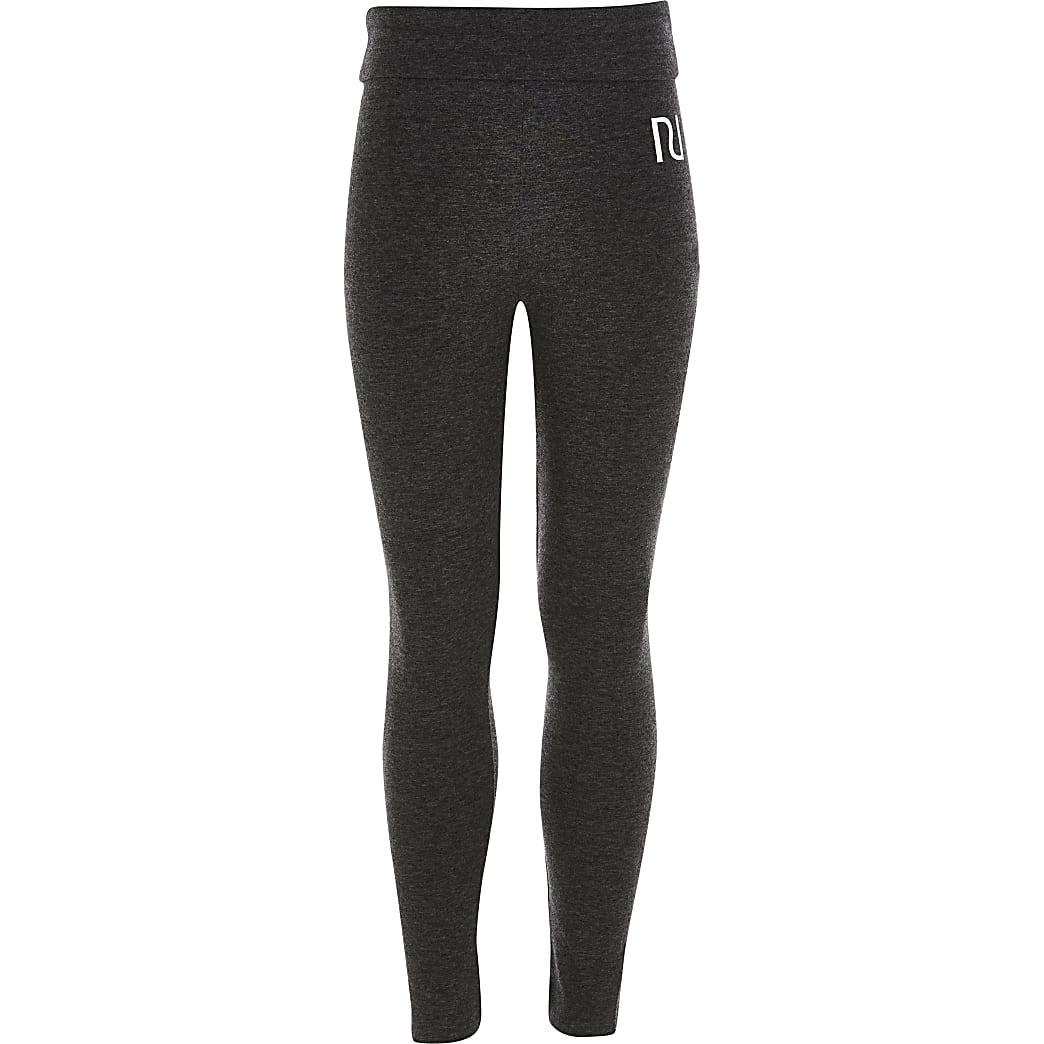 Girls grey fold over RI leggings