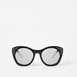Zwarte verfraaide glamourzonnebril voor meisjes