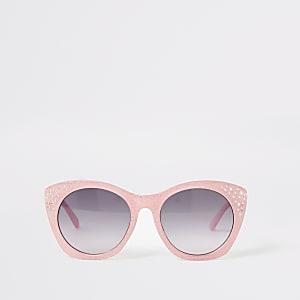 Lunettes de soleil glamour roses RIornées pour fille