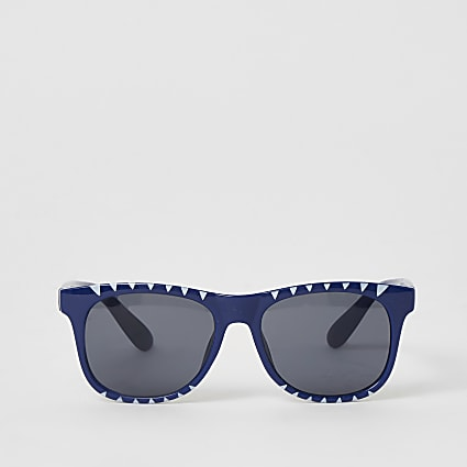 Mini boys blue shark printed retro sunglasses