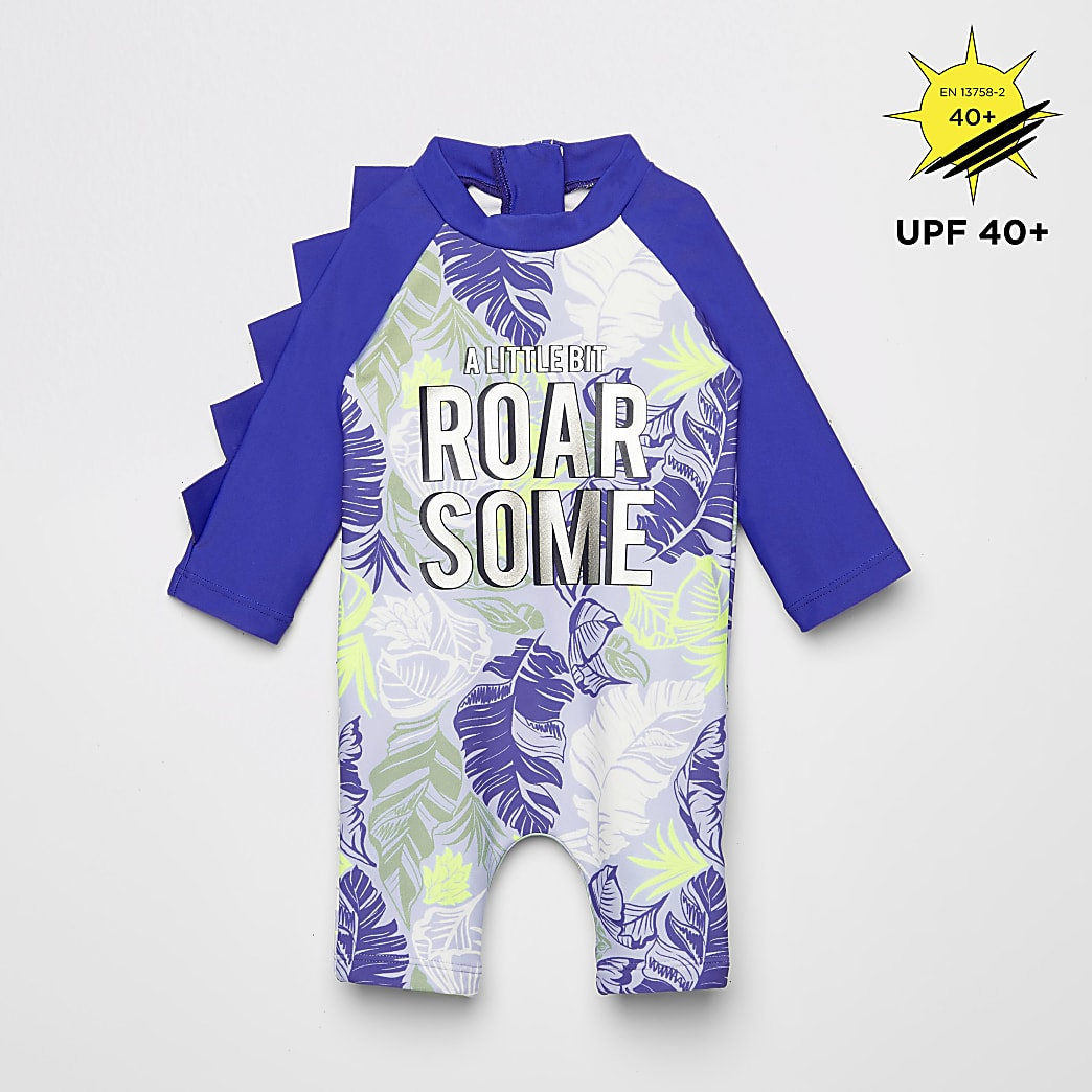 Baby blue printed sunsafe all in one swimsuit
