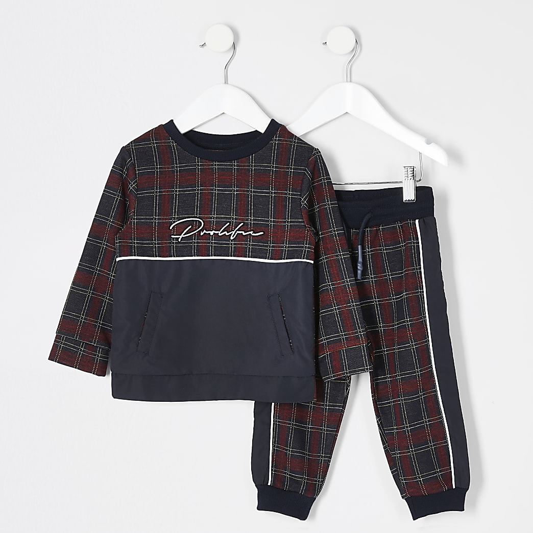 Mini boys red Prolific sweatshirt outfit