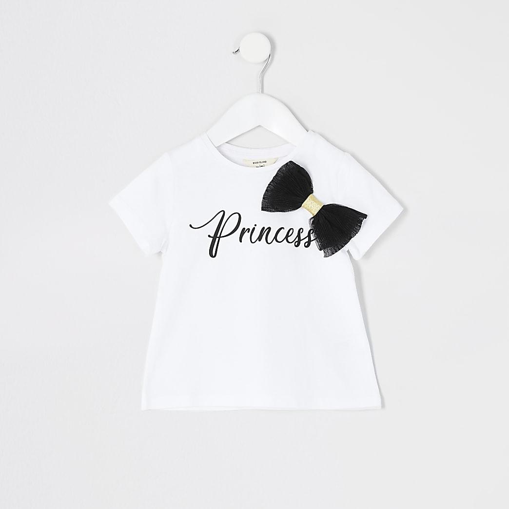 Mini girls 'Princess' organza bow  T-shirt