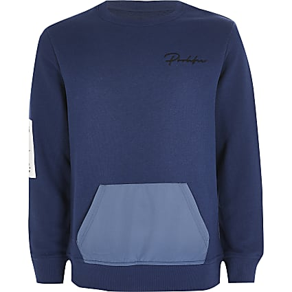 Boys Prolific blue contrast pocket sweatshirt
