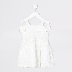 Robe à fleurs brodées blanche Mini fille