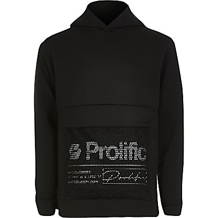 Boys black Prolific mesh hoodie outfit