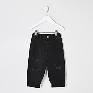 Mini – Schwarze Mom-Jeans im Used-Look mit hohem Bund für Mädchen