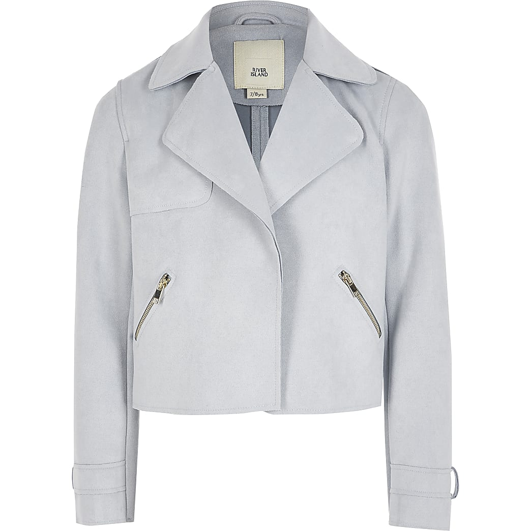 Girls blue suedette cropped trench jacket