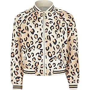 Girls orange leopard print bomber jacket