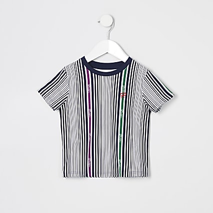 Mini boys white Prolific stripe T-shirt
