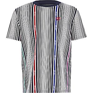 Prolific – T-shirt blancà fines rayures pour garçon