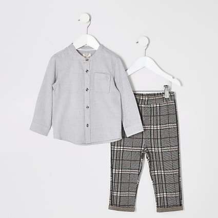 Mini boys grey grandad collar shirt outfit