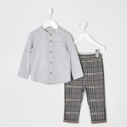 Mini boys grey grandad collar shirt outfit