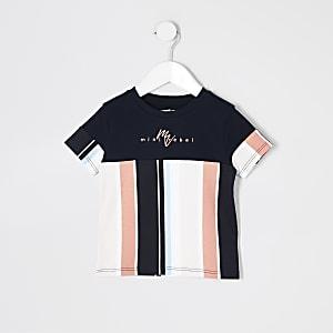 "Mini – Marineblau gestreiftes T-Shirt ""Mini Rebel"" für Jungen"