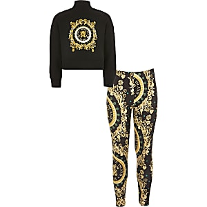 Girls black baroque sweatshirt outfit