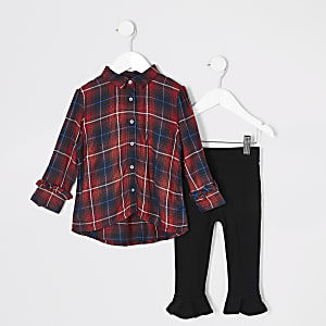 Mini girls red tartan shirt outfit