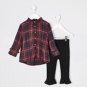 Tenue avec chemise tartan rouge Mini fille