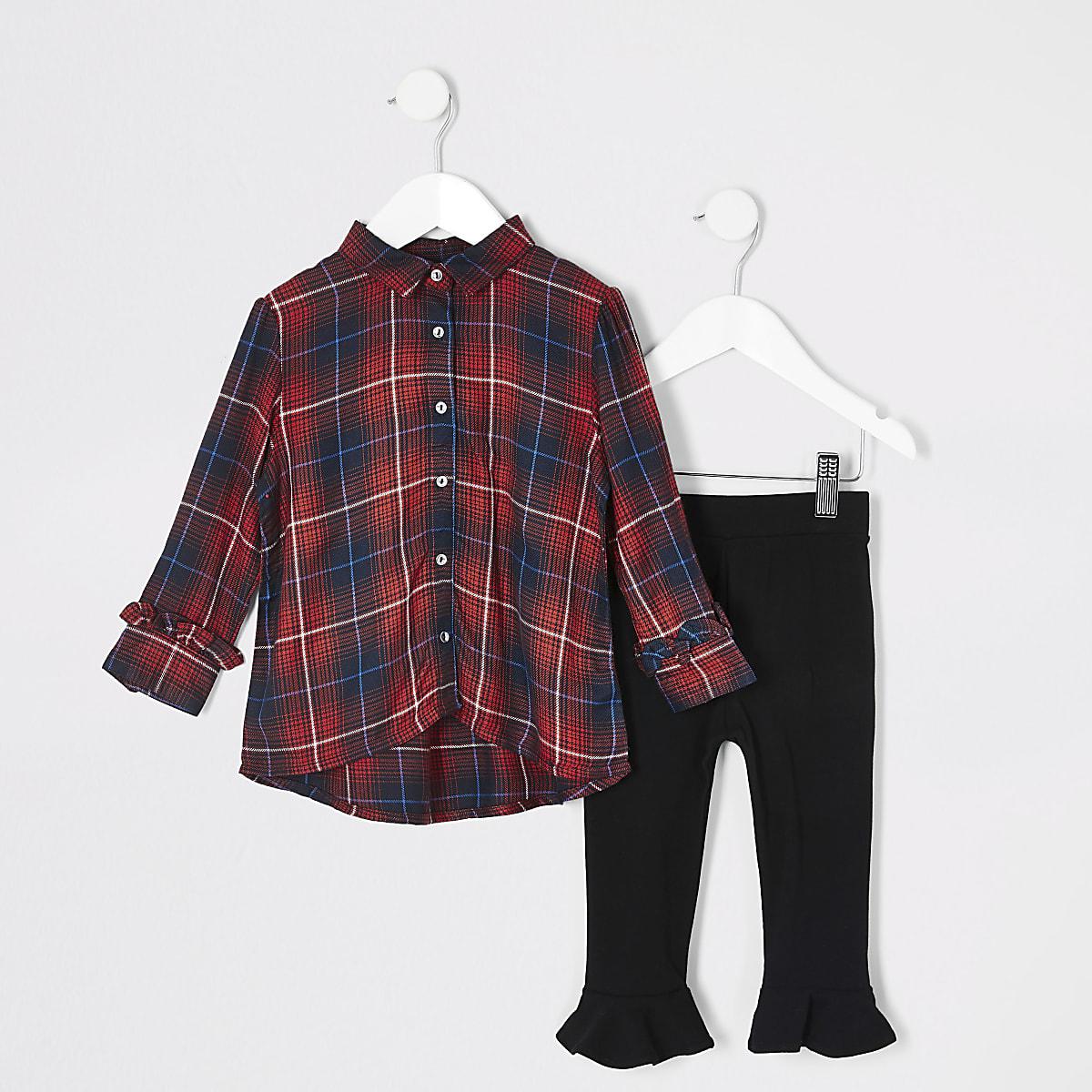 Mini girls red tartan shirt outfit