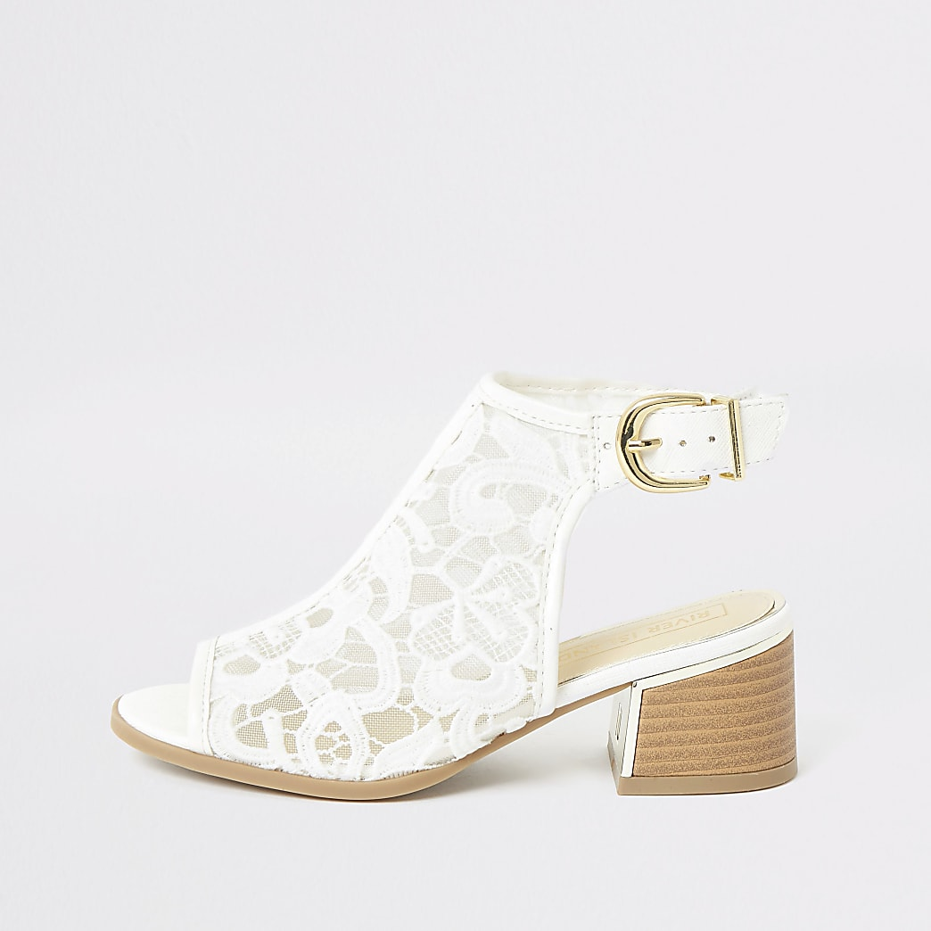 Girls white lace open toe heeled boots