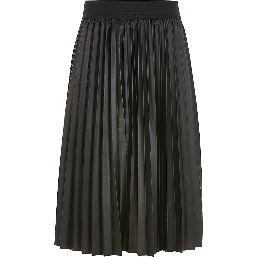 Girls black faux leather pleated midi skirt