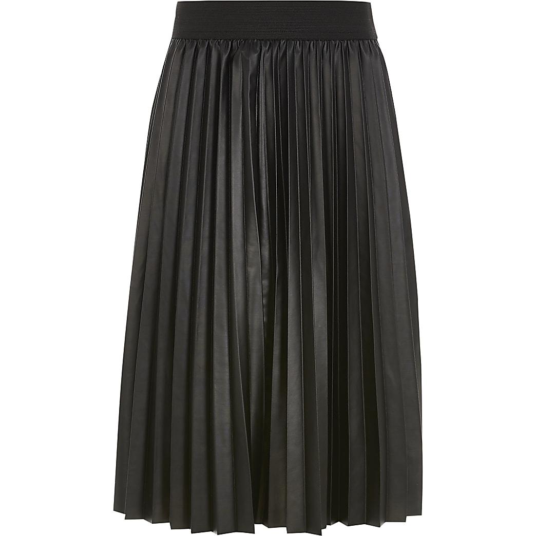 Girls black faux leather pleated midi skirt