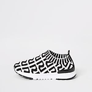 Mini - Witte gebreide sneakers met RI-print voor meisjes