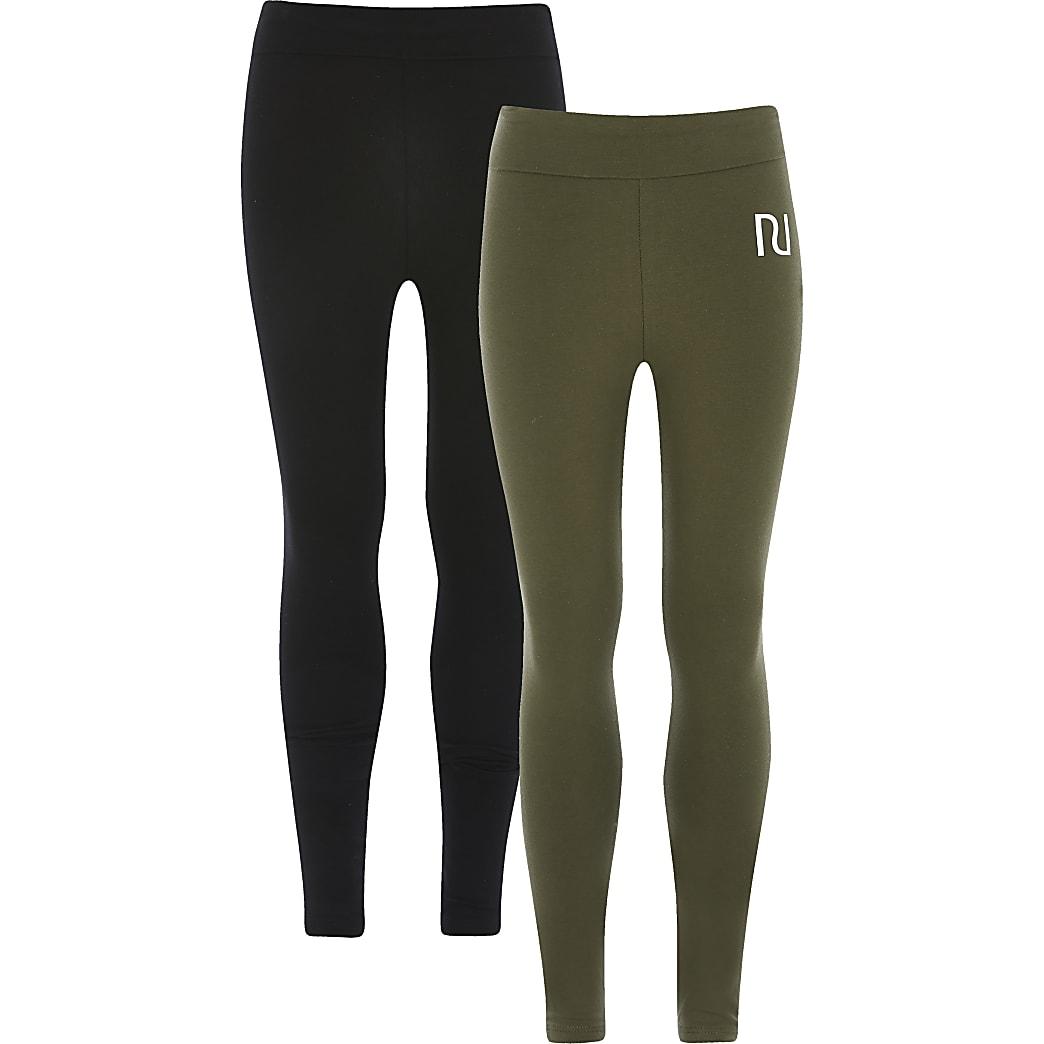 Girls khaki RI fold over leggings 2 pack