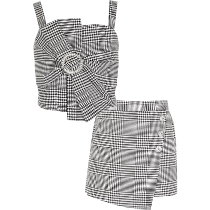 Girls black dogtooth bow cropped top outfit