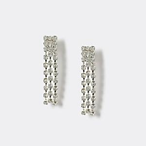 Silberne Clip-Ohrringe mit Strass für Mädchen
