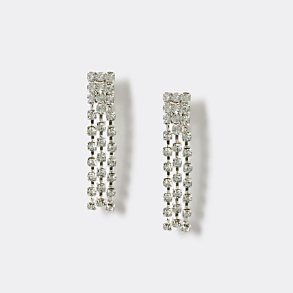 Girls silver diamante clip on earrings