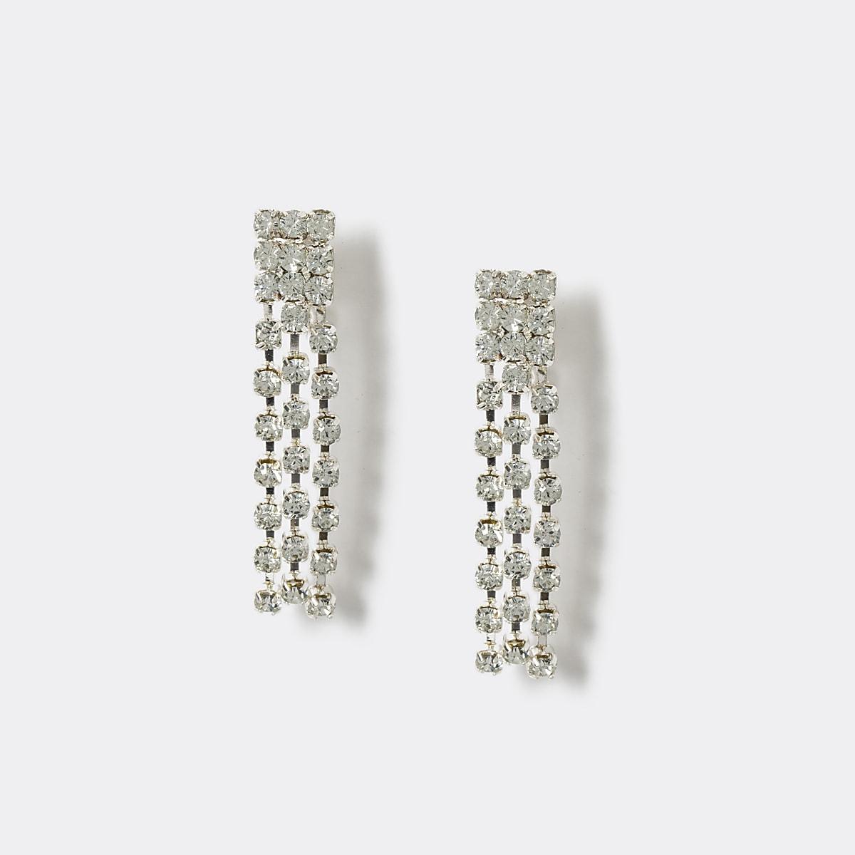 Girls silver diamante clip on earrings