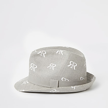Mini boys grey RI straw trilby hat